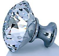 OVO® TEZ® Dali 50mm Clear Diamond Cut Crystal Knob Handle - Silver Glazed